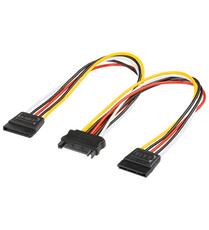 Kabel Strom Y-Verteiler 2x SATA -> SATA 15pin 0,15m