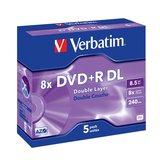 DVD-Rohlinge Doublelayer +R Verbatim 8,5Gb 5er Pack 8x